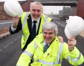 Clive Thomson, Head of Specialist Highway Services, and Staffordshire County Councillor Mike Maryon, Cabinet member for Highways, at the new Lichfield Southern Bypass