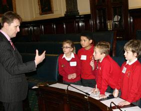 Cllr Matthew Ellis with pupils from Manor Primary School