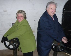 Cllr Val Richards and Cllr David Smith opening the valves on Chasewater reservoir
