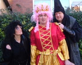 The fearsome Ogre (Brian Asbury) and his sidekick Igor (Jan Green) menace Queen Madge (Jon Williams)
