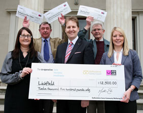 Cllr Matthew Ellis with representatives from the organisations receiving funding