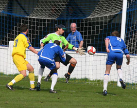Dave Egan puts Chasetown 1-0 up against Spalding. Pic: Dave Birt