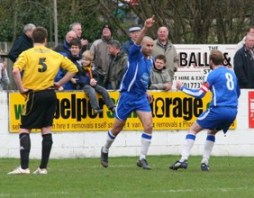 Gary Hay celebrates his goal against Belper Town. Pic: Dave Birt
