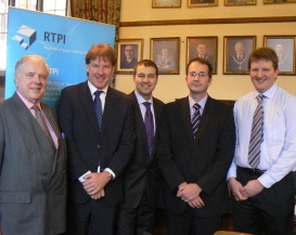 Cllr David Smith (Leader of Lichfield District Council), Richard King (Strategic Director of Democratic, Development and Legal Services), John Rowe (Solicitor, Ansons), Nick Hardy (Director, GVA Grimley) and Andrew Thompson (Walsall Council)