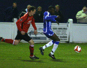 Ramone Stephens breaks away to score against Mickleover Sports. Pic: Dave Birt