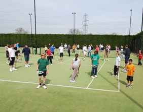 Lichfield Friary Lawn Tennis Club players take part in the world record attempt