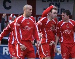 Richard Davies celebrates his goal. Pic: Dave Birt