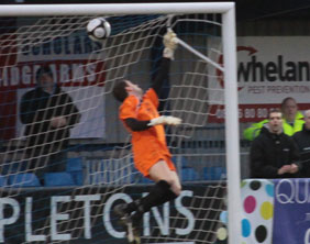Ryan Price can do nothing to stop Eastleigh from equalising. Pic: Dave Birt