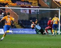 Adam Murray's shot gives Chasetown FC goalkeeper Ryan Price no chance. Pic: Dave Birt
