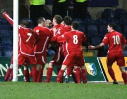 Chasetown FC's players celebrate the equaliser. Pic: Dave Birt