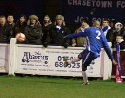 Jimmy Turner whips in the free-kick to make it 1-1. Pic: Dave Birt