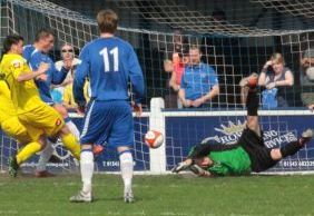 Gary Birch makes it 3-0 to Chasetown. Pic: Dave Birt