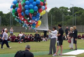 Balloons are released at Erasmus Darwin Academy
