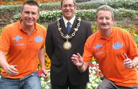 Paul Griffin and Kevin Wilson with the Lord Mayor of Tamworth, Cllr Jeremy Oates