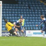 Jake Sedgemore's free-kick finds the net. Pic: Dave Birt