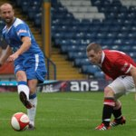 Darren Stride on the ball against FC United of Manchester. Pic: Dave Birt