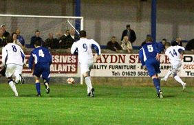Dean Perrow scores from the penalty spot. Pic: Dave Birt