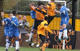 Lucan Spittle heads Rushall in front. Pic: Dave Birt