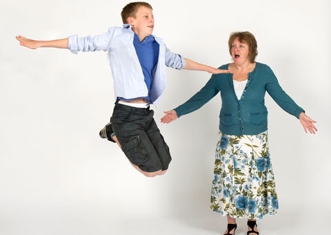 Mother and son Gus and Clare Wade performing in Billy Elliot. Picture: Robert Yardley