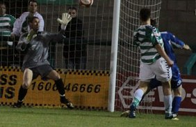 Chasetown keeper Ryan Price is beaten as Northwich make it 3-1. Pic: Dave Birt