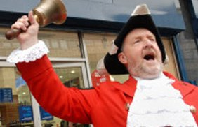 Lichfield town crier Ken Knowles in action