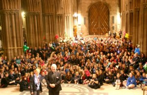 The girl guides and their leaders in Lichfield Cathedral