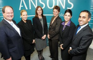 Partners at Ansons Solicitors Simon James, Marie Tisdale, Susan-Davies, Sarah Popp, Hilary D'Cruz and Jas Singh