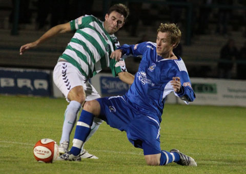 Chasetown's Ben Jevons makes a tackle. Pic: Dave Birt
