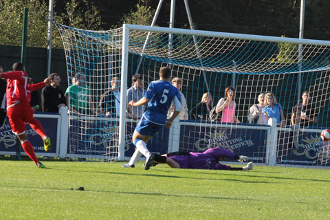Neville Thompson puts Stafford Rangers ahead against Chasetown FC. Pic: Dave Birt