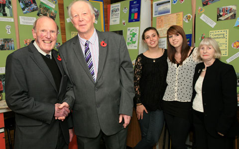 County councillor Frank Lewis, Steve Heathcote and members of Armitage Youth Centre