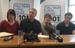 Sophy, Keith, Hilary and Thomas Warrington at the press conference
