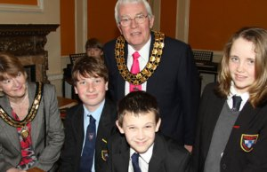 Judith Derrick and Cllr Bernard Derrick meet Maple Hayes students Ben Dunnington, Harry Grateholder and Jasmine Fox