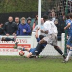 Andre Landell condemns Chasetown FC to defeat as he makes it 2-1 to Hednesford Town. Pic: Dave Birt
