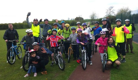 Cyclists take a break during the Whittington ride