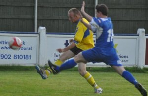 Danny Smith closes down a Studley player. Pic: Pamela Mullins