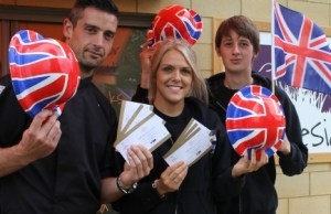 Matthew Brain, Zoe Westwood, Daniel Marson from Chandlers Lakeside Bistro get ready for the Lichfield Proms in Beacon Park