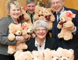 Sally Dowding, Jim Cunningham, Martin Cardinal and Estella Hindley QC with some of the teddy bears