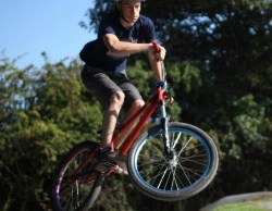 Campbell Perrins tries out the Mile Oak BMX track. Pic: John Wedrychowski