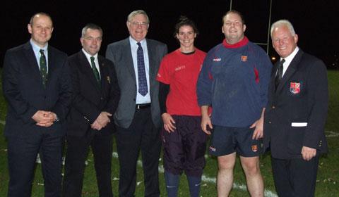 Ben Norris, Mick Procter, John Dutton, Sarah Hunter (Lichfield Ladies 1st XV Captain), Dave W Bassett (Lichfield Mens 1st XV Captain) and Dave G Bassett