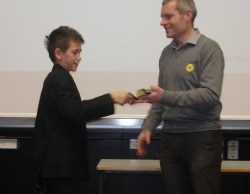Bryan Steel presenting an award at Nether Stowe School