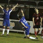 Greg Downes (12) celebrates finding the net. Pic: Dave Birt