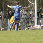 Sam Carline's header finds his own net. Pic: Dave Birt