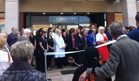 Staff and shoppers get ready for the opening of Debenhams in Lichfield in 2013. Pic: Paul Flanagan