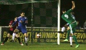 Mitchell Piggon scores against Chasetown. Pic: Dave Birt