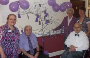 Frances Henden, Gordon Brown, Margaret Rowe, David Morris and Ruth Morris taking part in the Dignity Day event at Hoar Cross Nursing Home