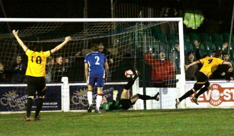 Tim Price's effort finds the net to put Leek Town in front against Chasetown. Pic: Dave Birt