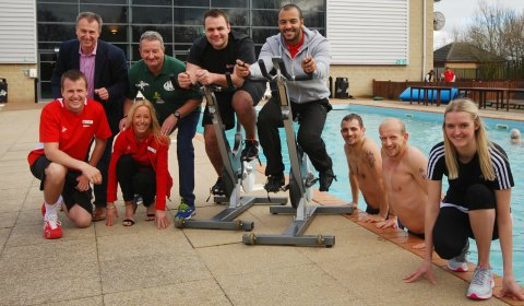 Matt Lancaster, Julian Fisher, Sue Wright, Kevin Wilson, Dan Toth, Andy Alden, Chris Brooks, Ian Dempsey and Gemma Howells celebrate the launch of the try-athlon world record attempt at Virgin Active