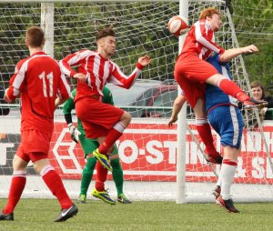 Lee Smith scores an own goal to put Chasetown level. Pic: Dave Birt