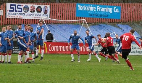Joe Halsall bends a free-kick towards goal. Pic: Dave Birt