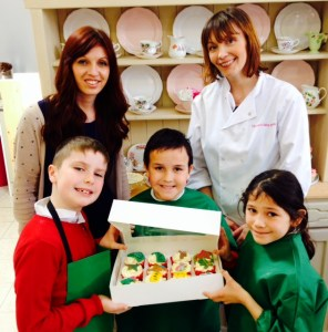 Young bakers Lewis Shenton, Josh Lopes and Rebekah Alvado with Hannah Clarke and Julie Crisp
